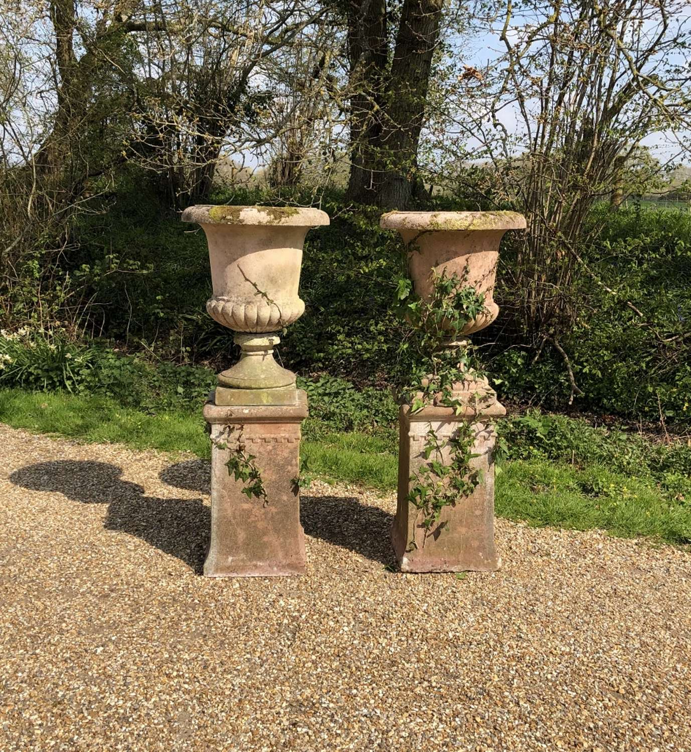 Pair of Campania Urns with Pedestals