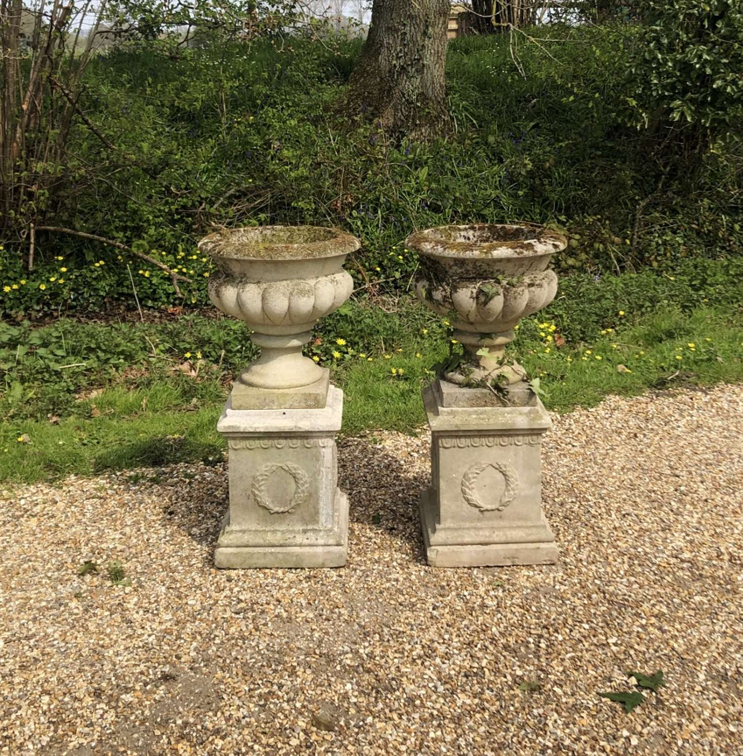 Pair of Small Vintage Urns and Pedestals