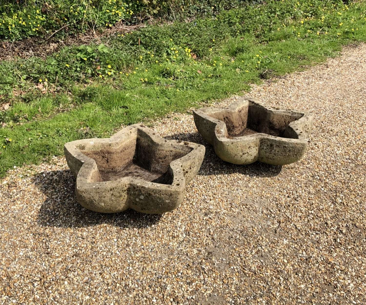 Pair of Carved Stone Star Planters