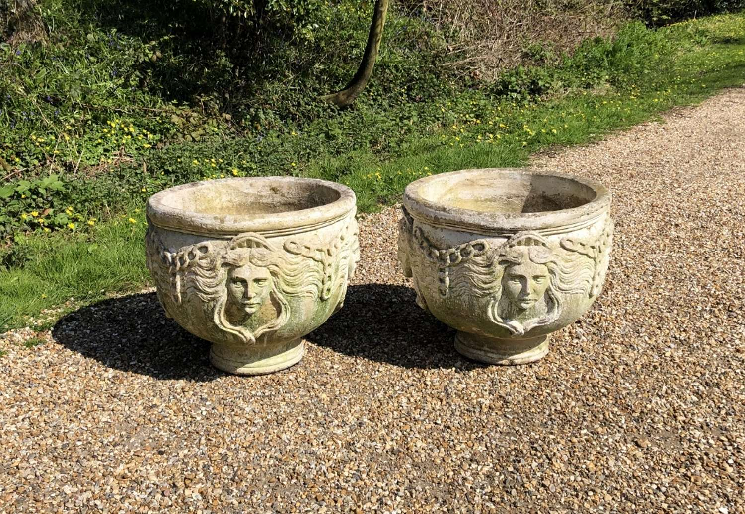Pair of Large Maiden Planters