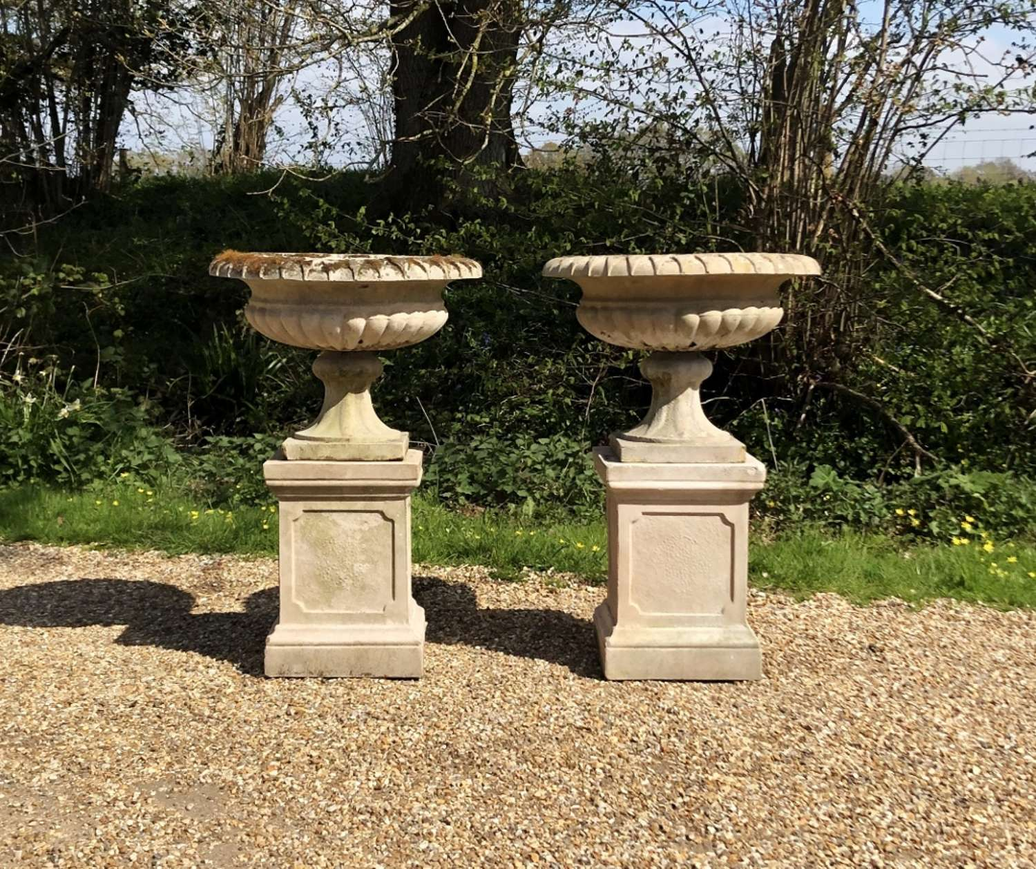 Pair of Small Classic Urns and Pedestals