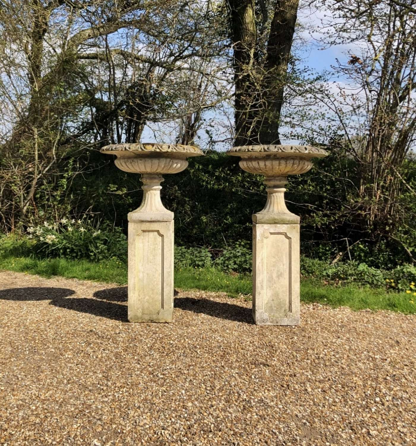 Pair of Tazza Urns on Tall Pedestals