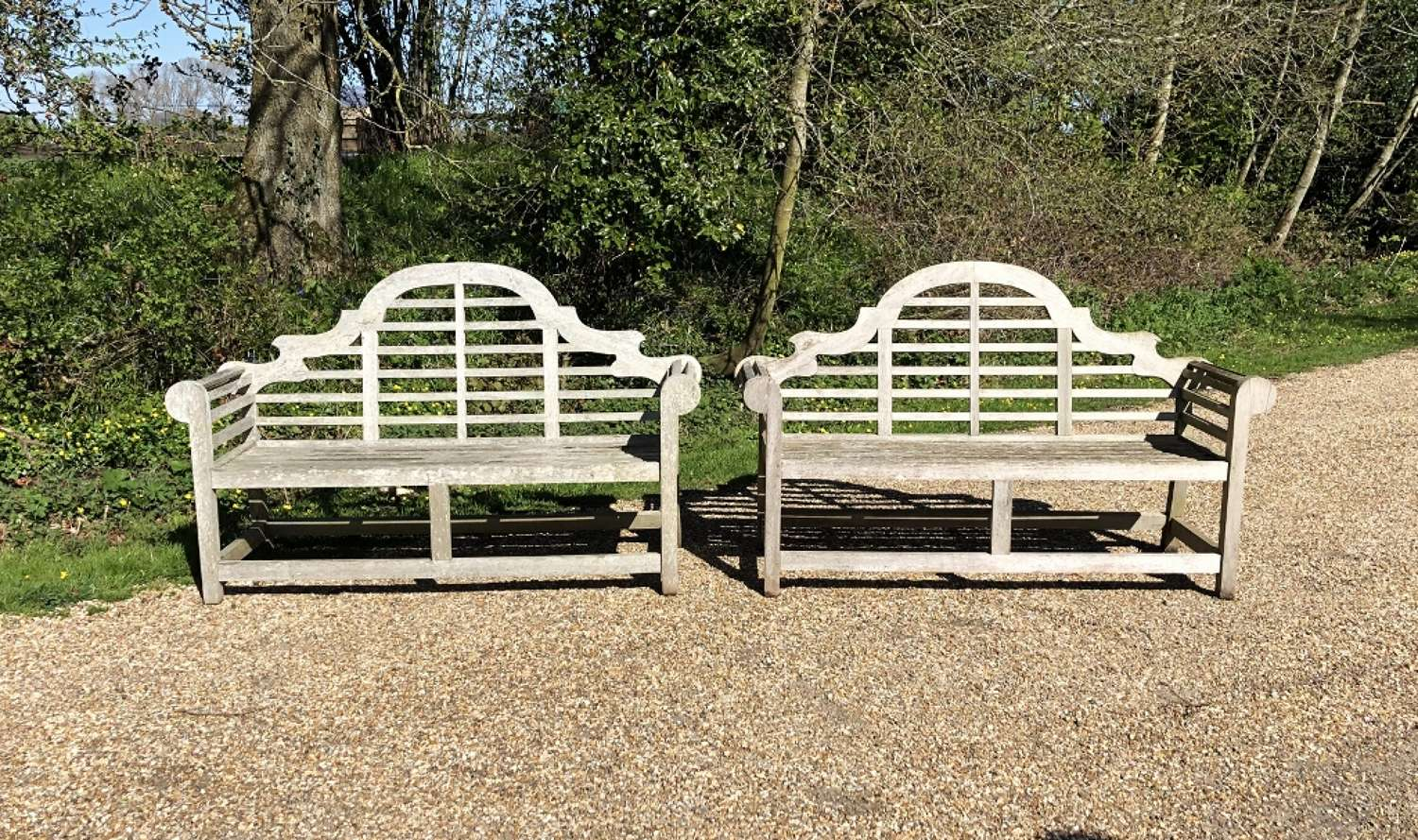 Pair of Silvered Lutyen Benches
