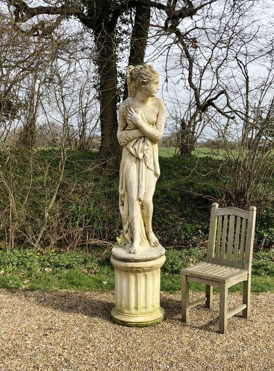 Large Statue of Venus Bathing with Pedestal