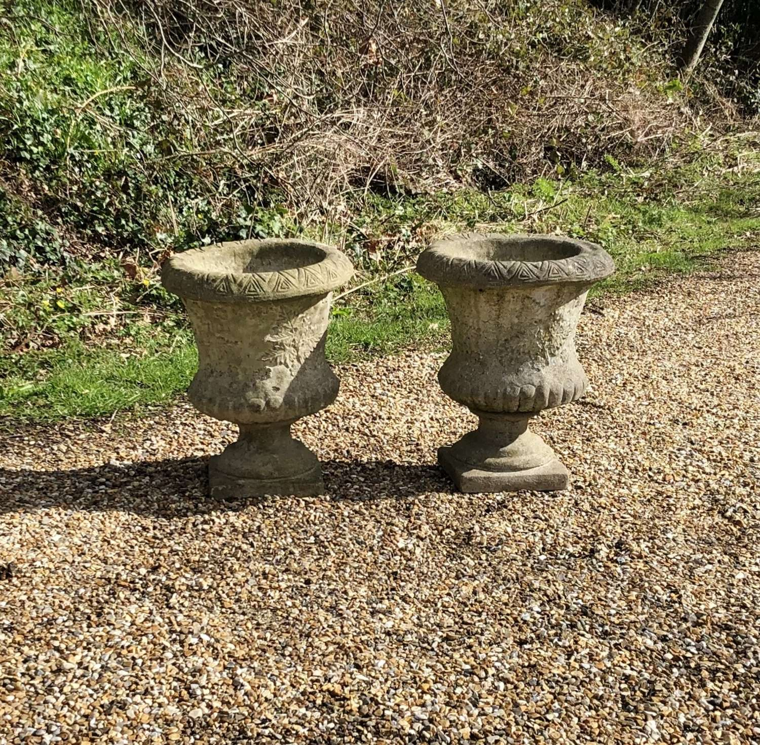 Pair of Small Leaf Urns