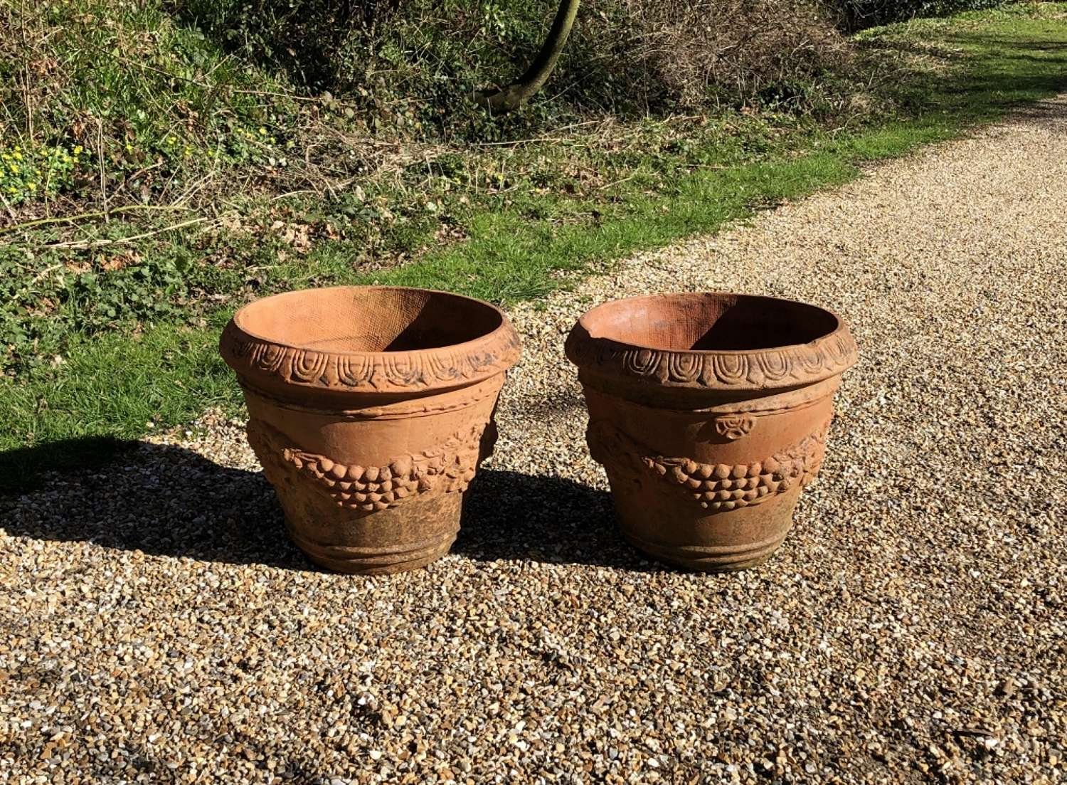 Pair of Small Terracotta Garland Planters