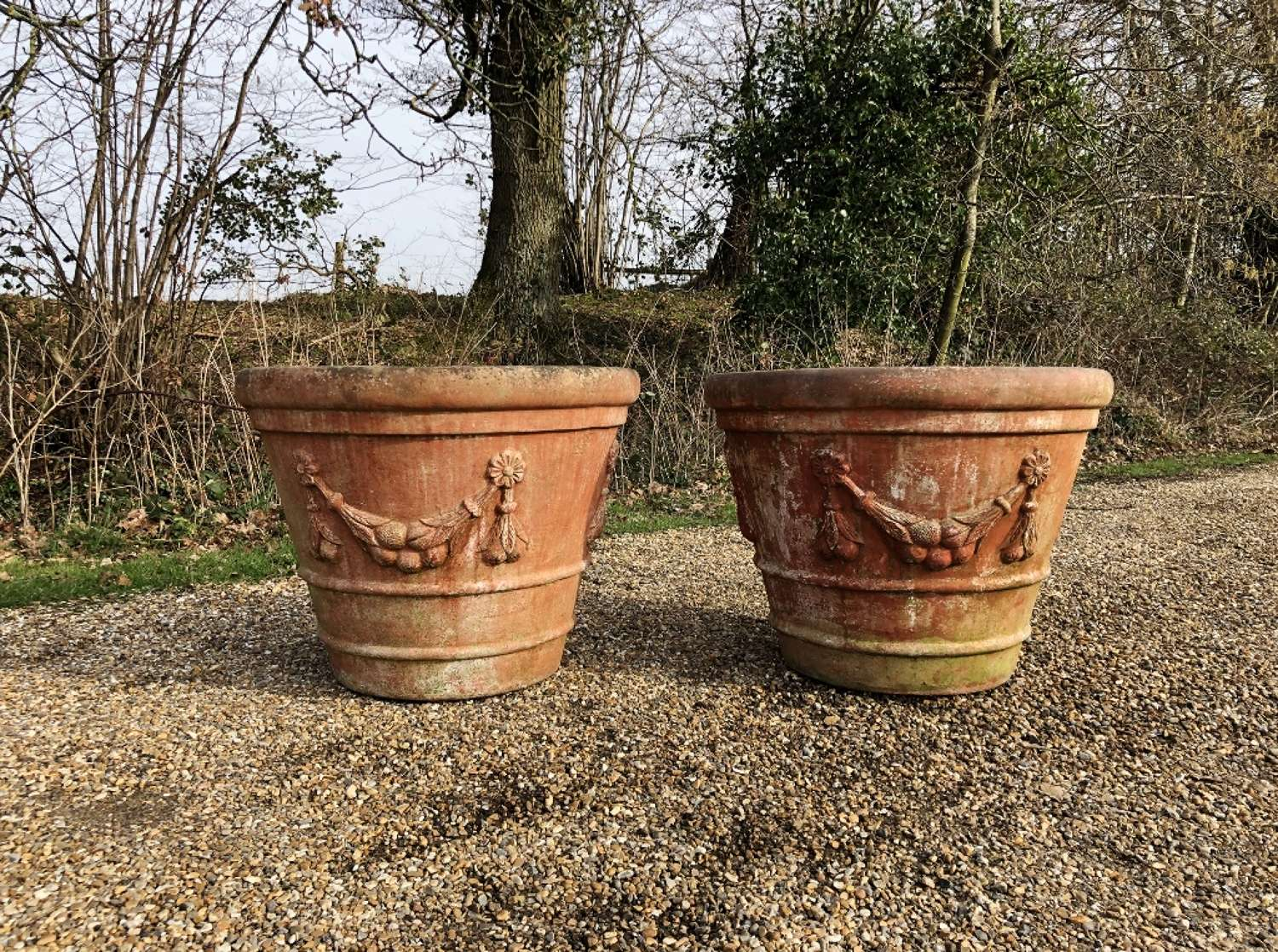 Pair of Large Terracotta Planters