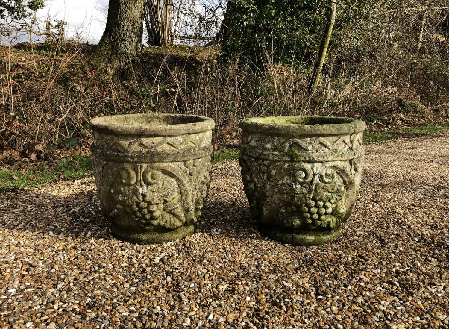 Pair of Patinated Grape Planters