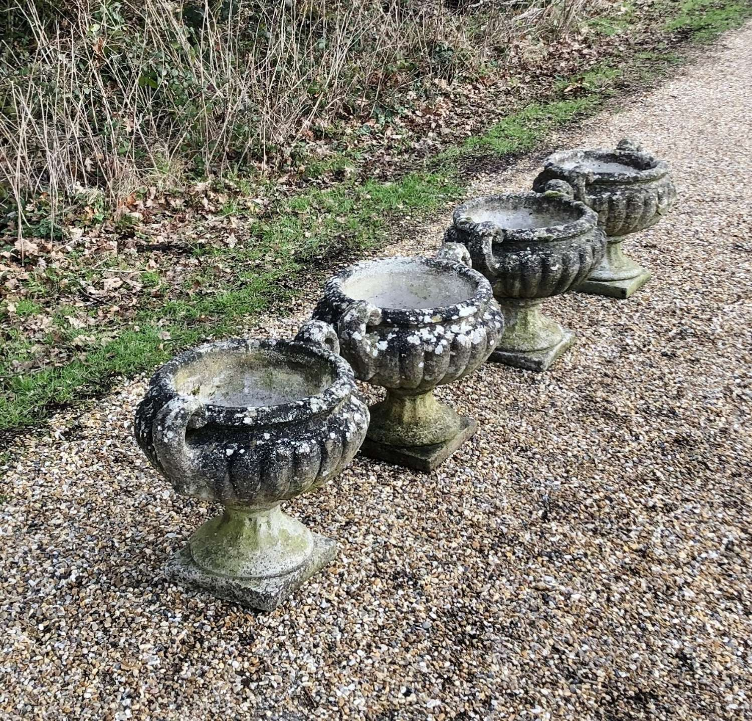 Set of Patinated Handled Urns