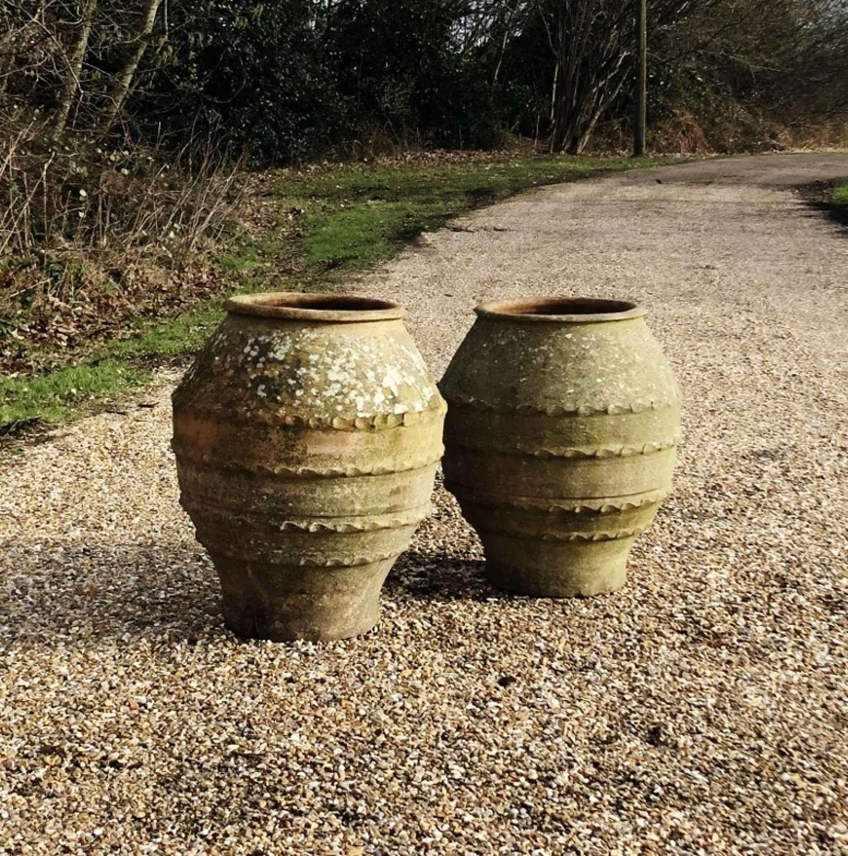 Pair of Patinated Terracotta Jars