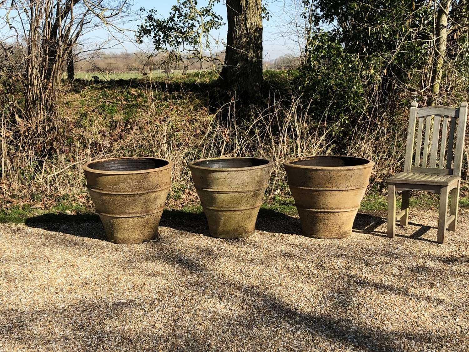 Large Patinated Terracotta Planters