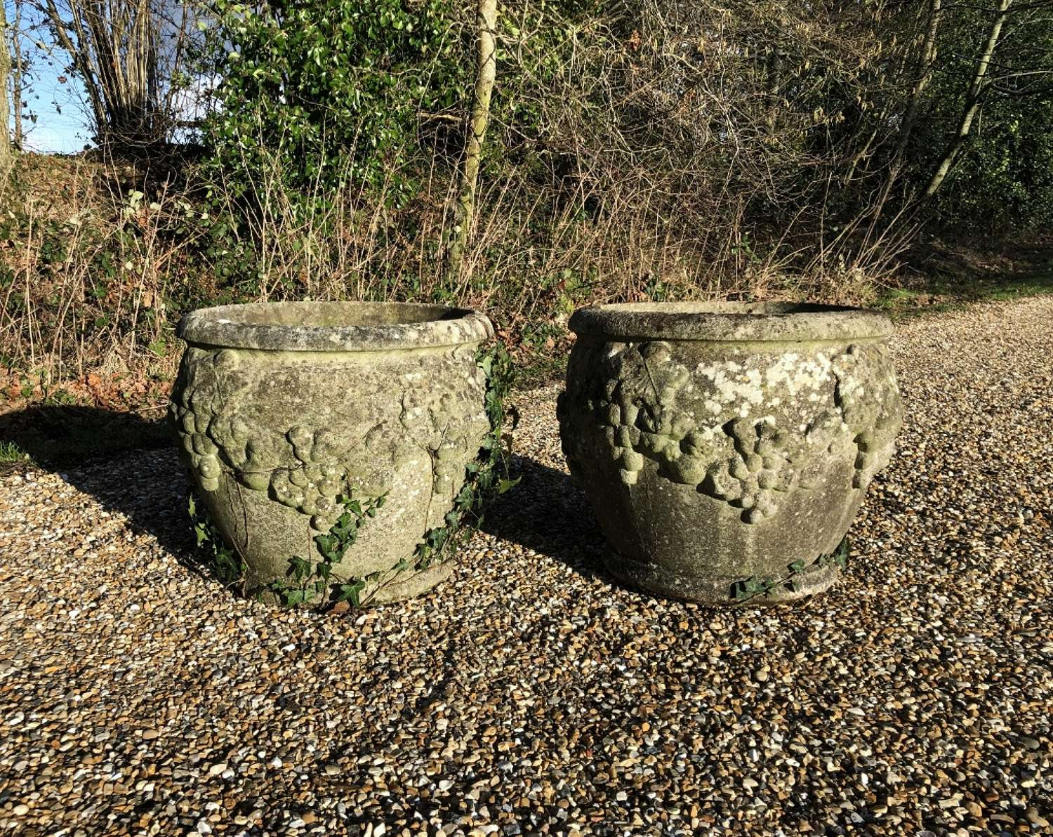 Pair of Weathered Grape Planters