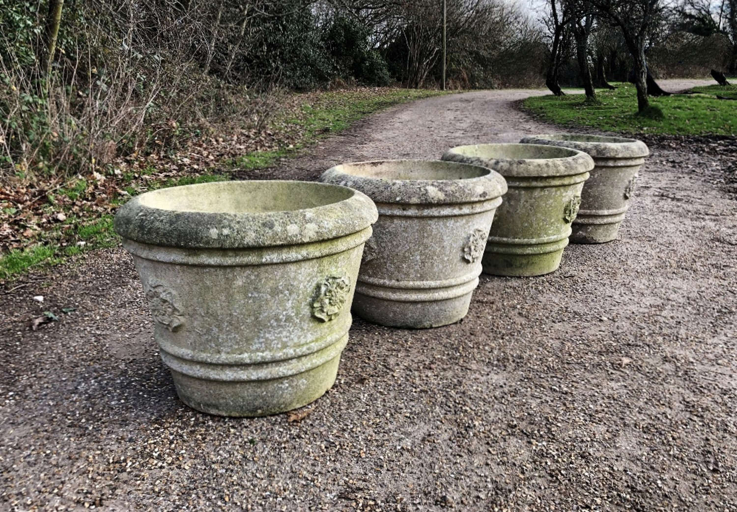 Set of 4 Large Rose Planters