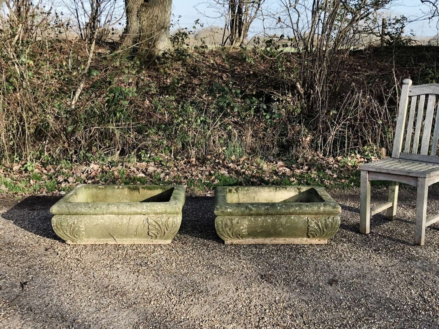 Pair of Large Acanthus Troughs
