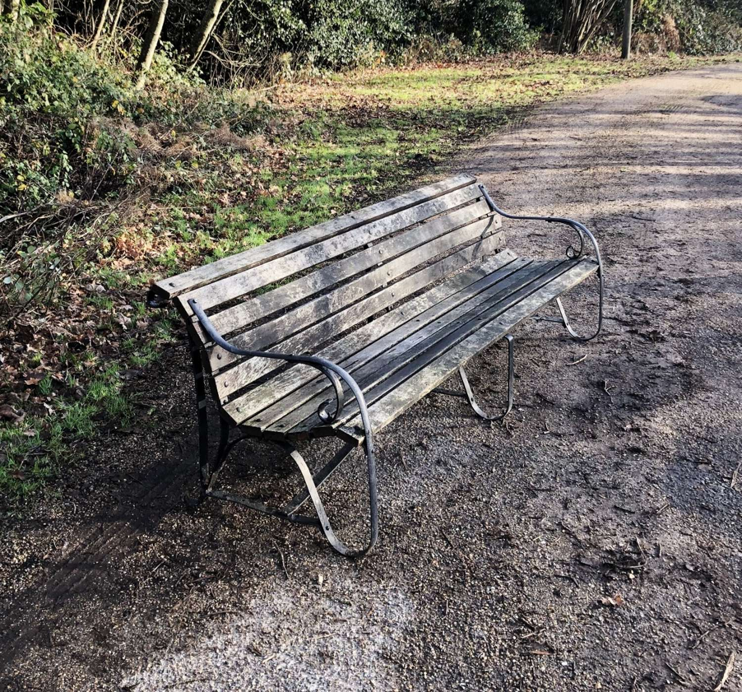 Large Wood and Iron Garden Bench