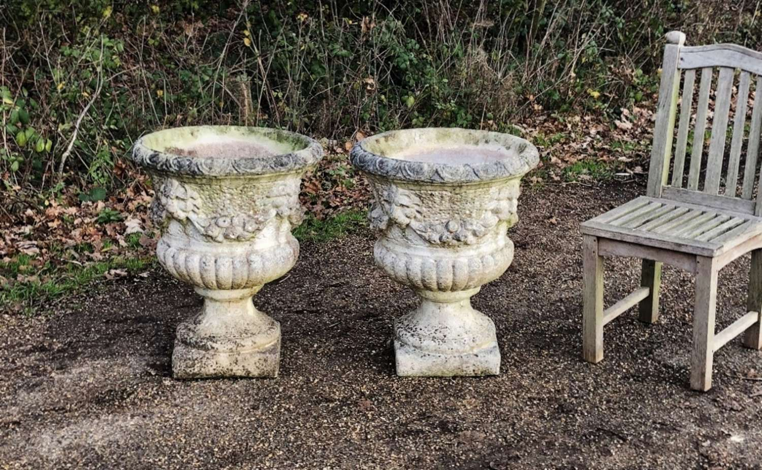 Pair of large Lion Urns