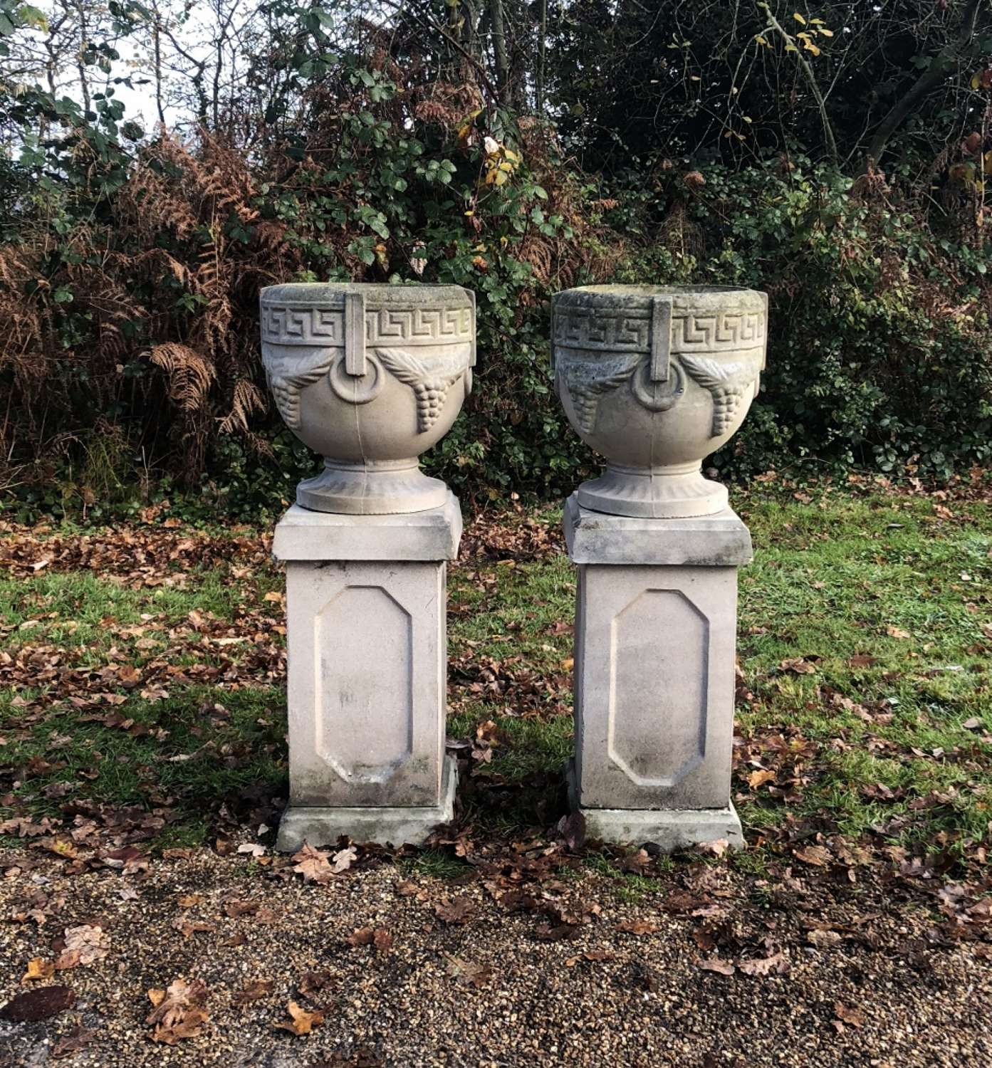 Pair of Grape Urns with Pedestals