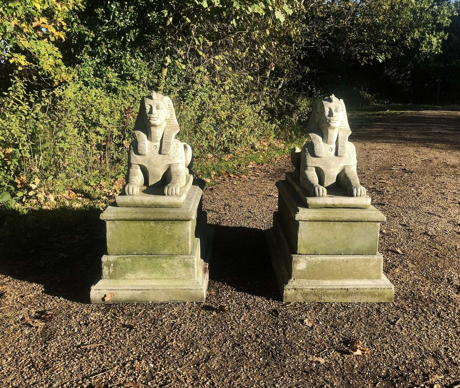 Pair of Stone Sphinxes on Bases