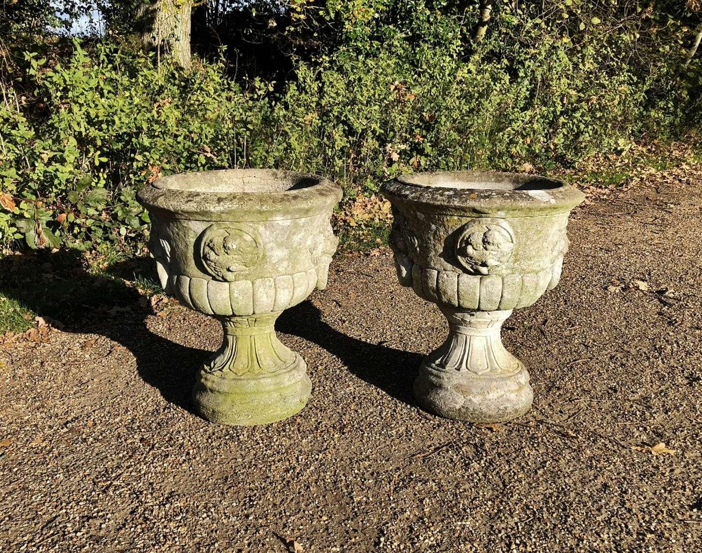 Pair of Large Cast Urns