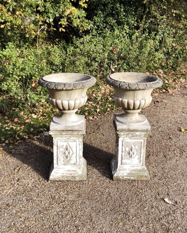 Pair of Vintage Urns with Pedestals