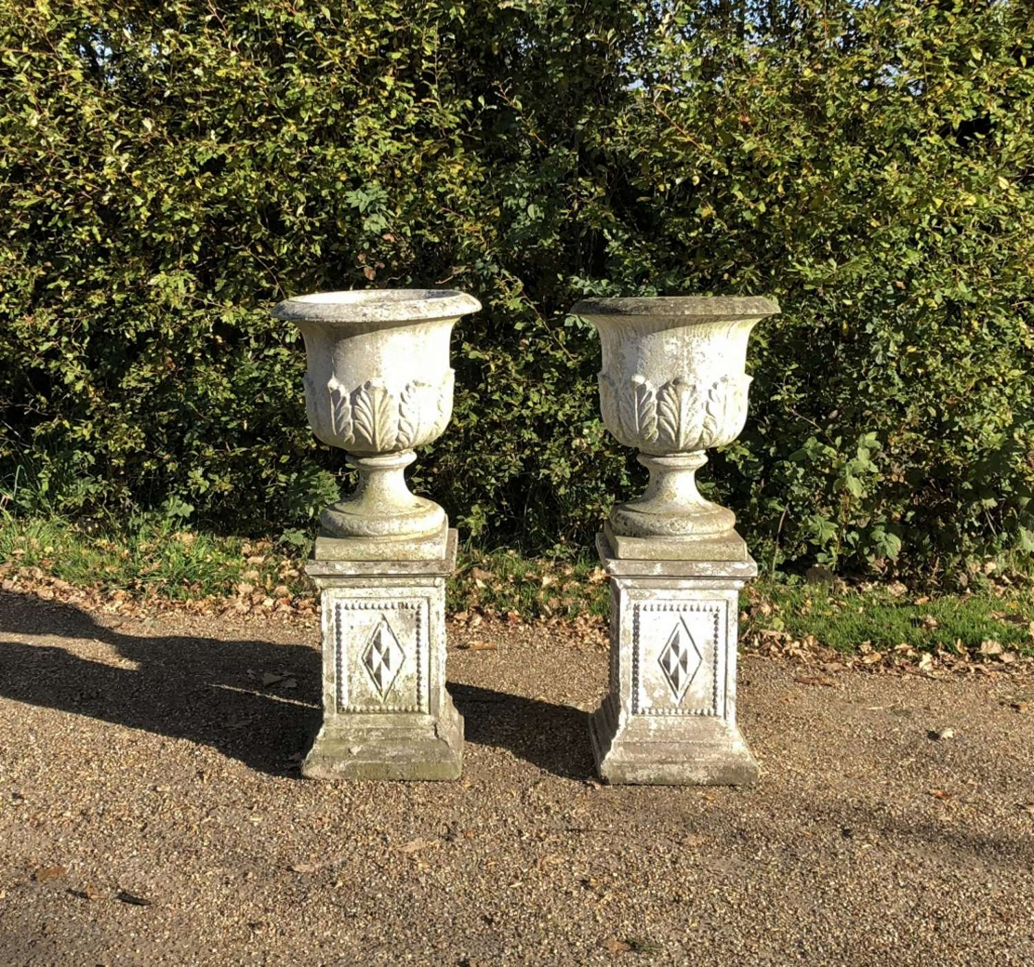 Pair of Leaf Urns on Pedestals