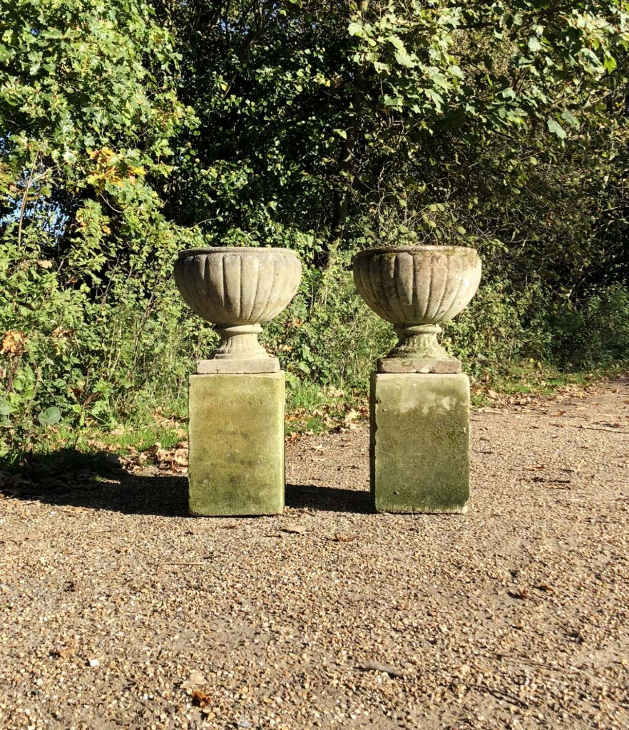 Pair of Small Weathered Urns with Pedestals