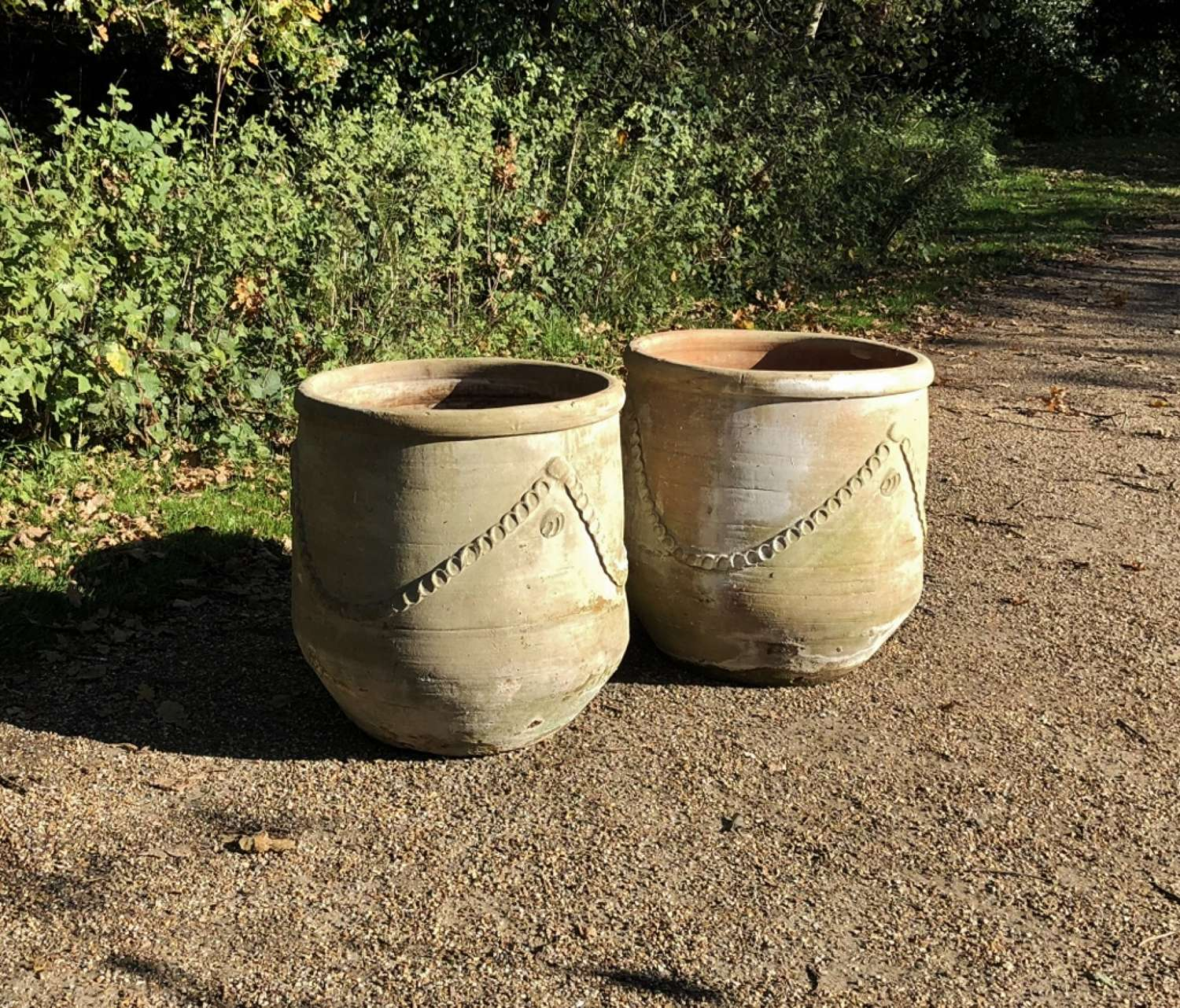 Pair of Large Decorated Terracotta Planters