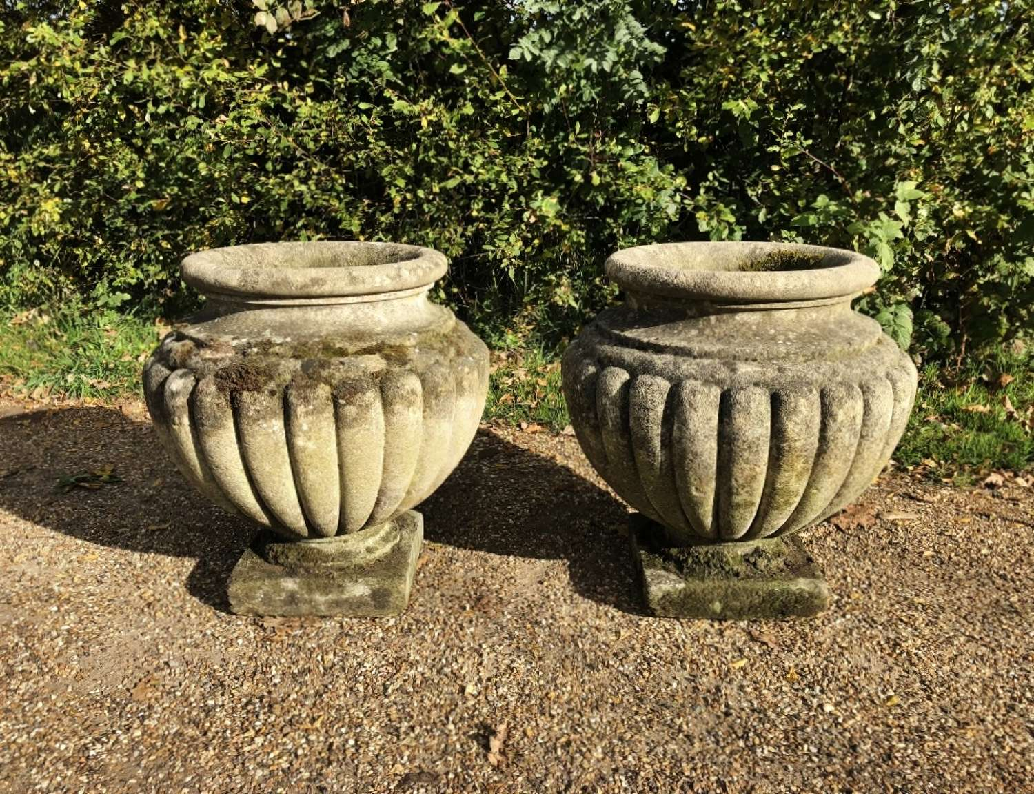 Pair of Large Mossy Vases