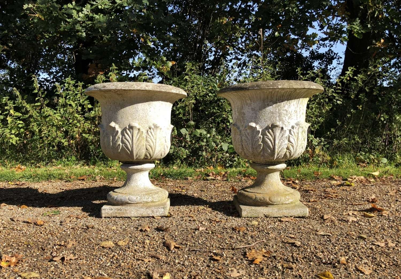 Pair of Leaf Urns