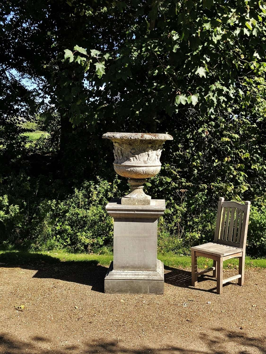 Very Large Decorative Urn and Pedestal