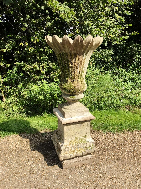 Large Mossy Vase and Pedestal