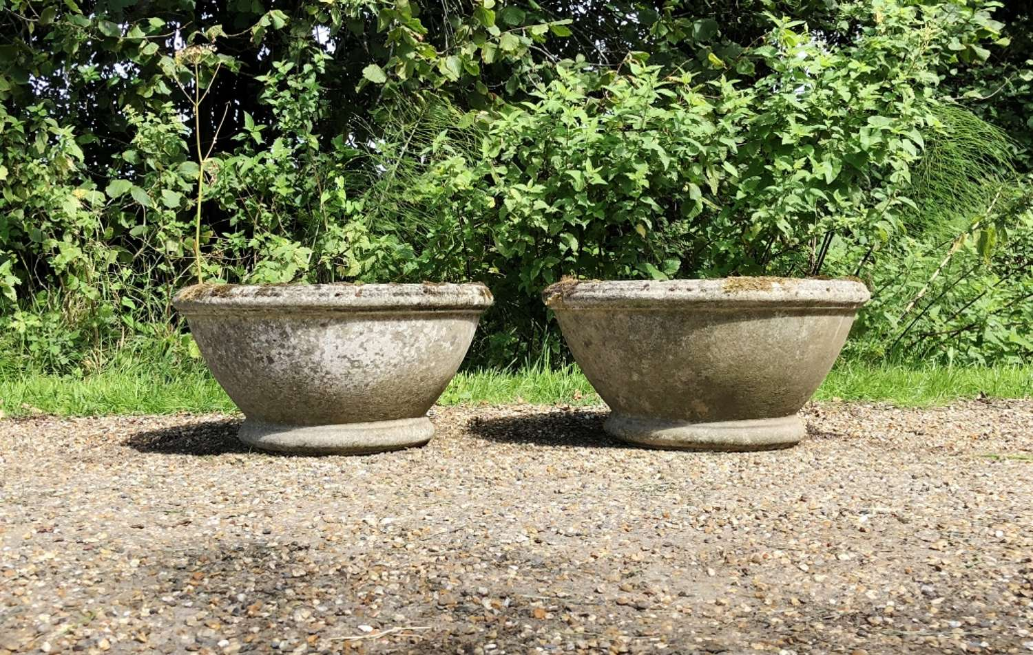 Pair of Mossy Bowl Planters