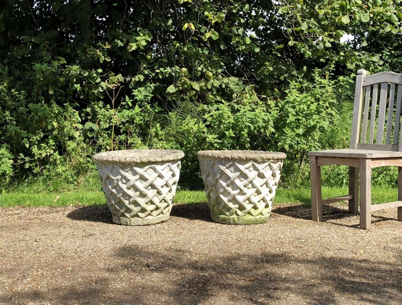Pair of Large Lattice Weave Planters