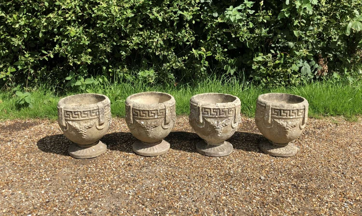 Set of 4 Small Composite Bowl Urns