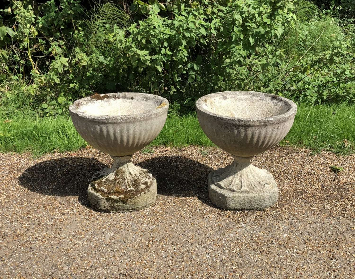 Pair of Fluted Bowl Urns