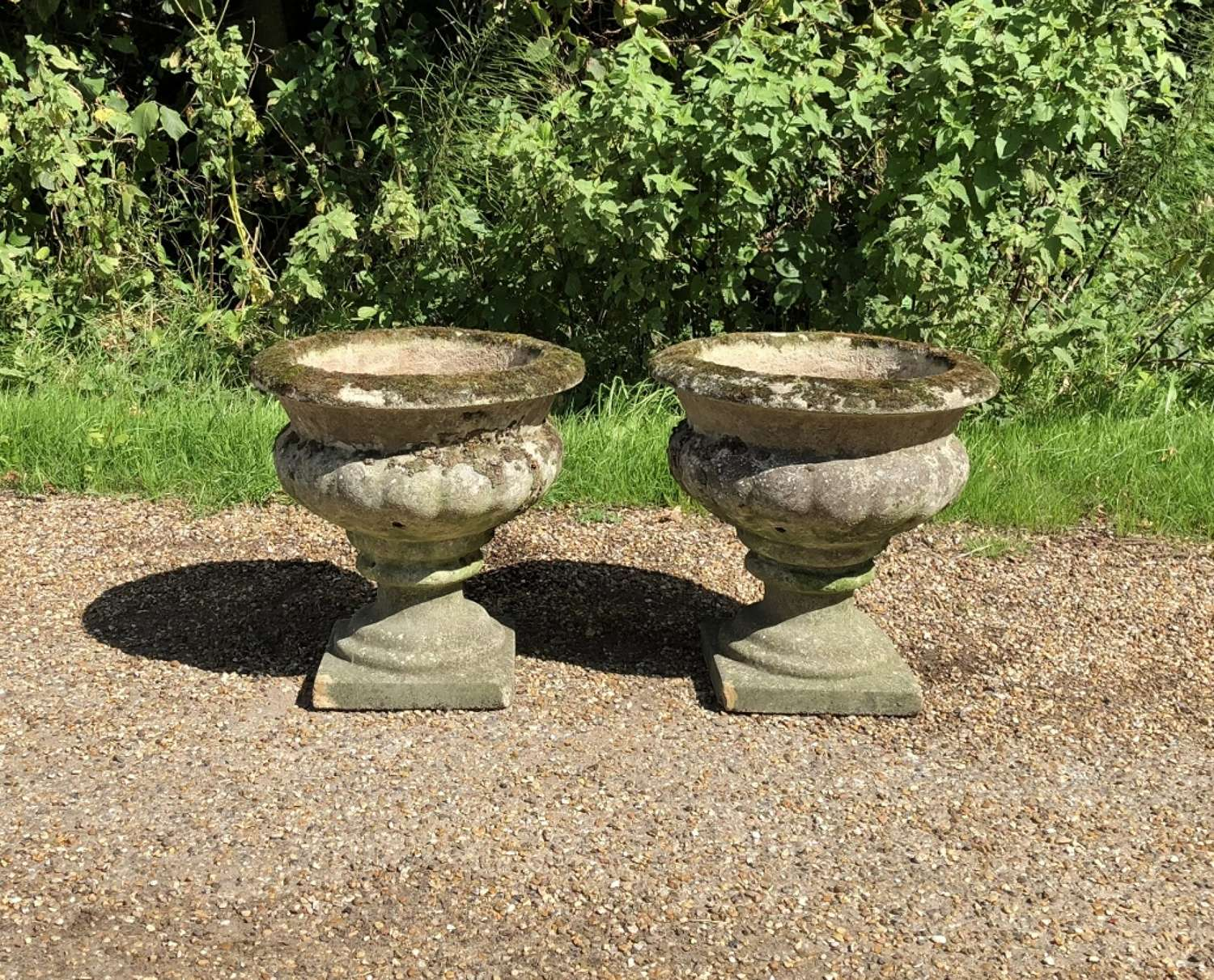 Pair of Mossy Urns