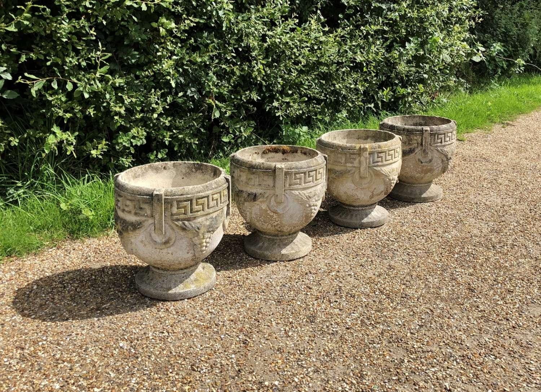 Set of 4 Composite Bowl Urns