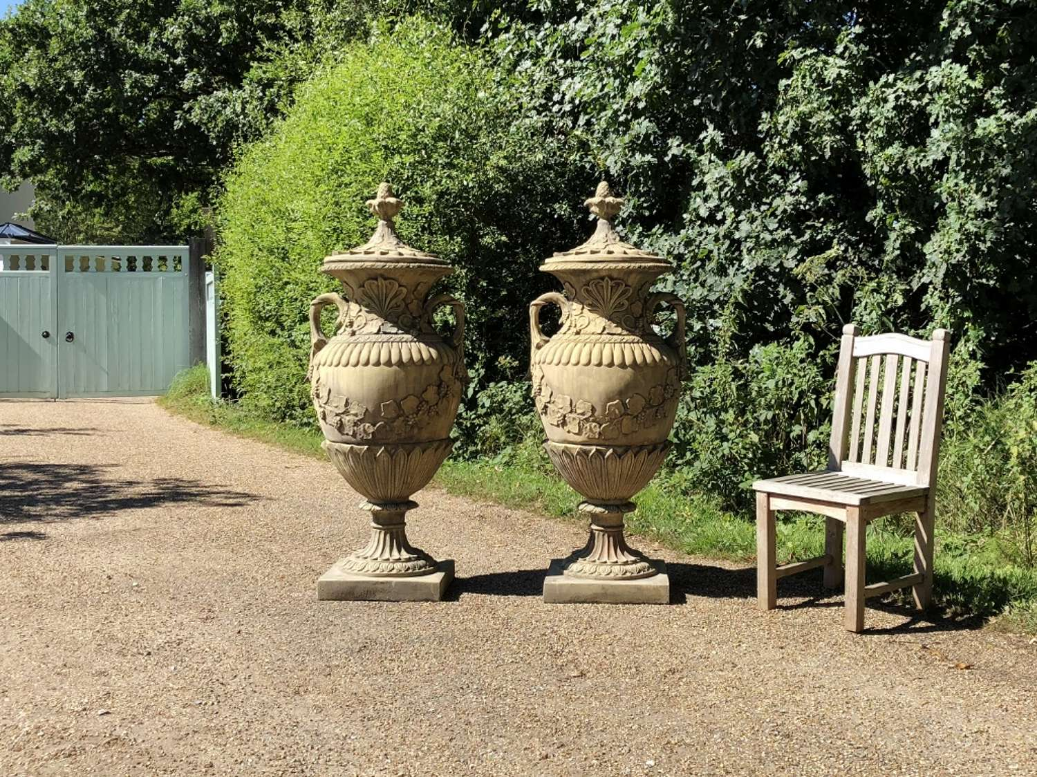 Pair of Large Swedish Lidded Urns