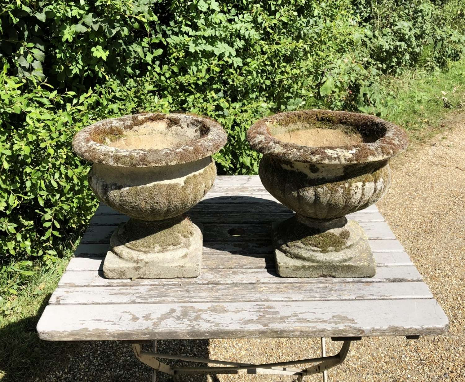 Pair of Small Mossy Urns