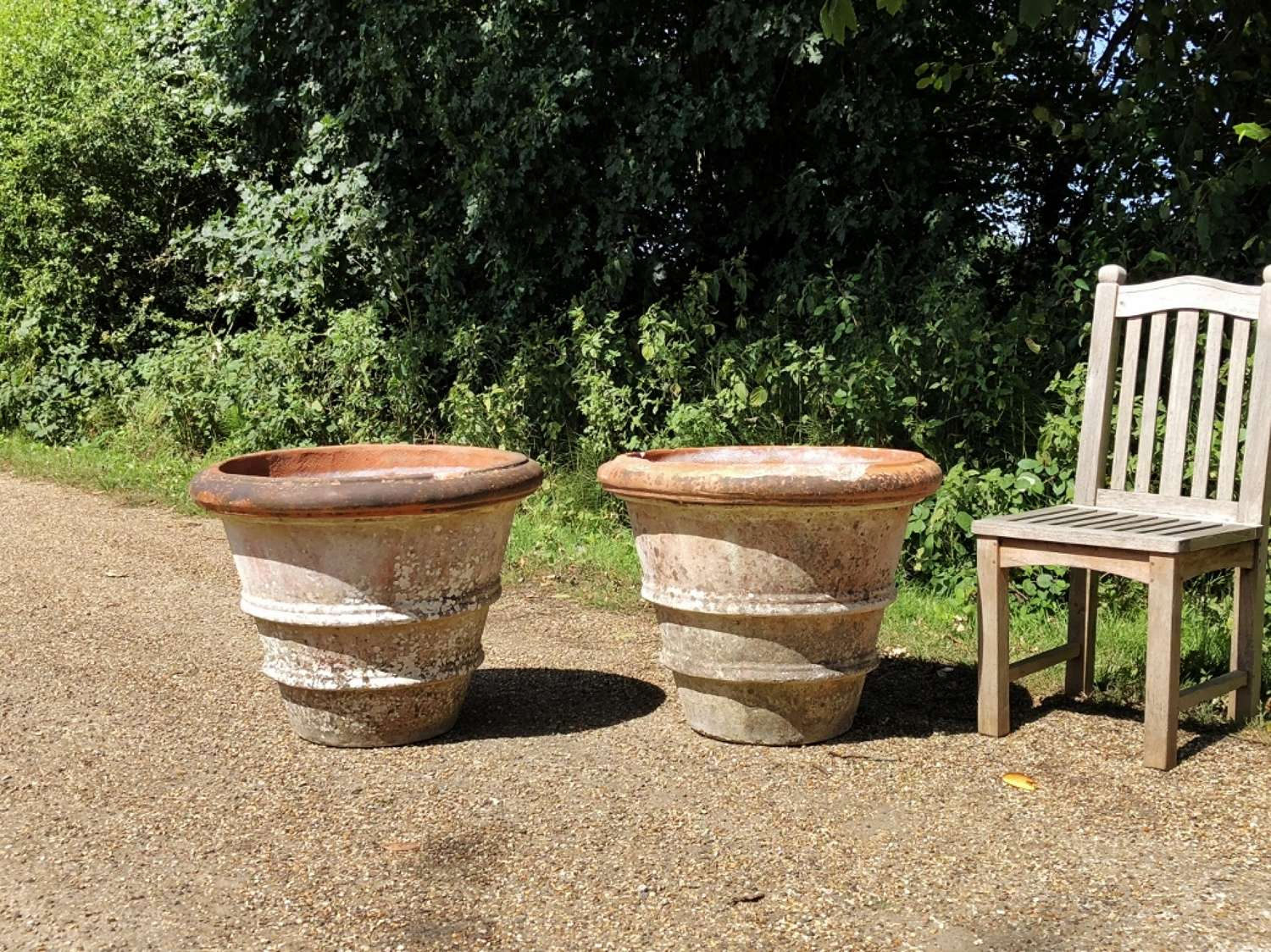 Pair of Weathered Terracotta Planters