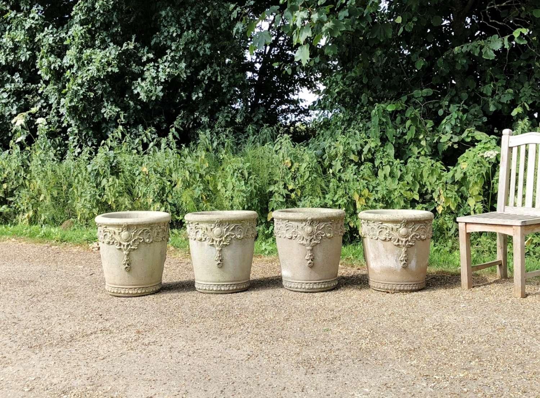 Set of 4 Willow Stone Planters