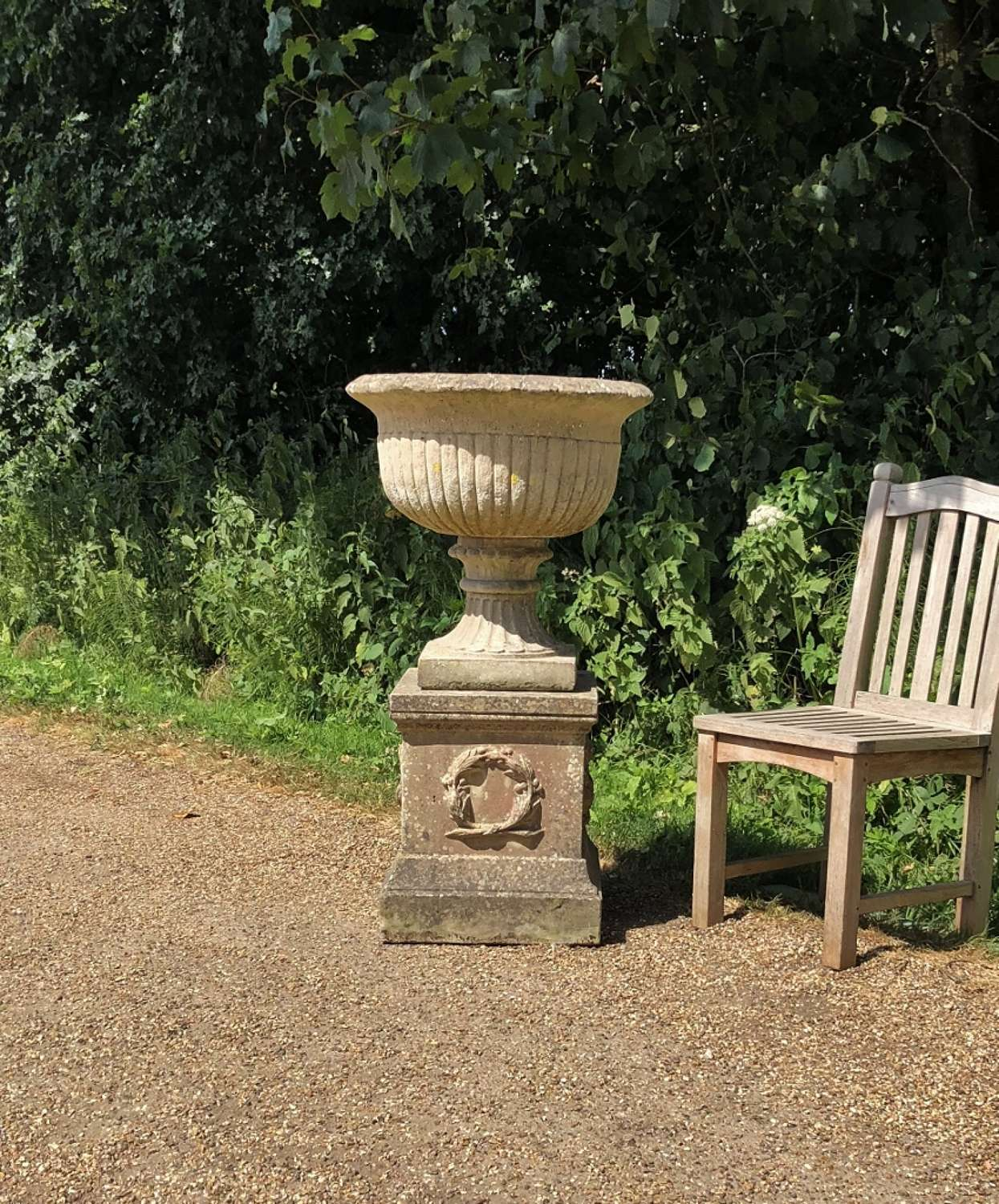 Large Bowl Urn with Pedestal