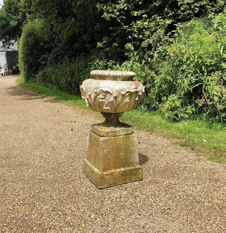 Antique Terracotta Urn and Pedestal