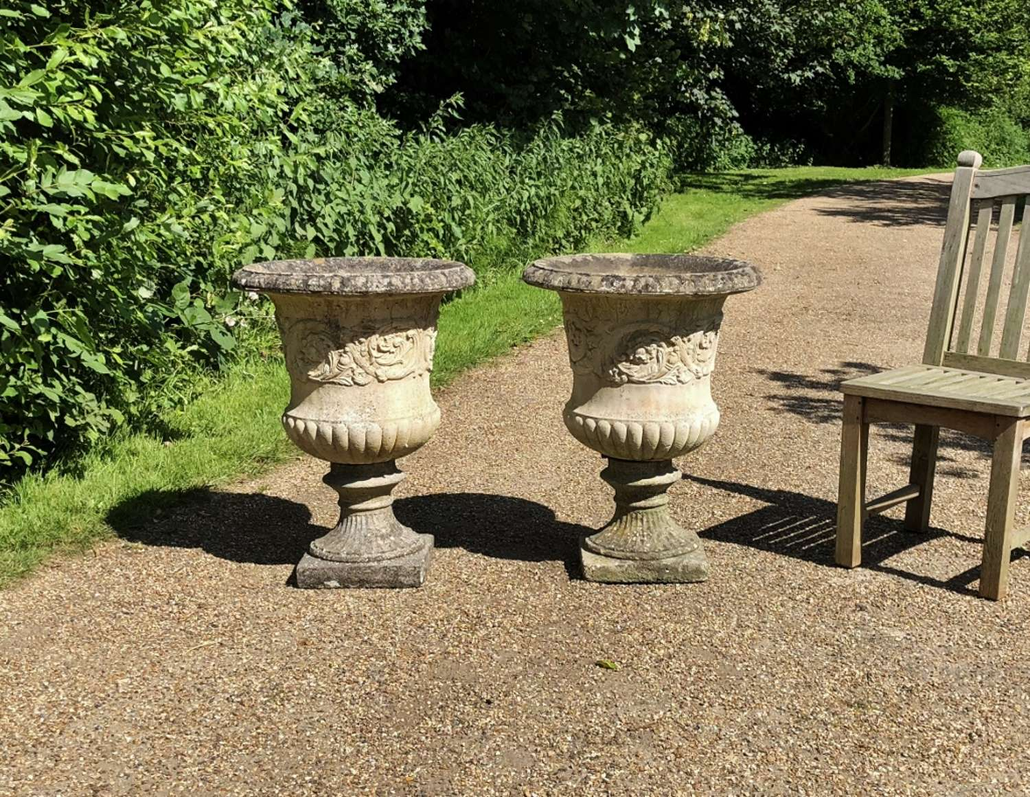 Pair of Large Campania Urns (another pair available)