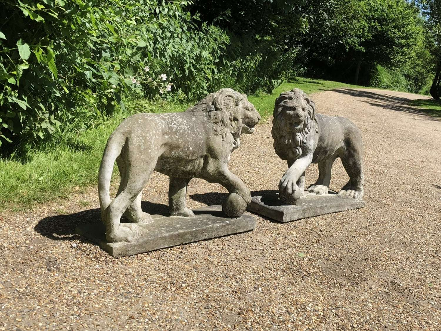 Pair of Lions with Balls