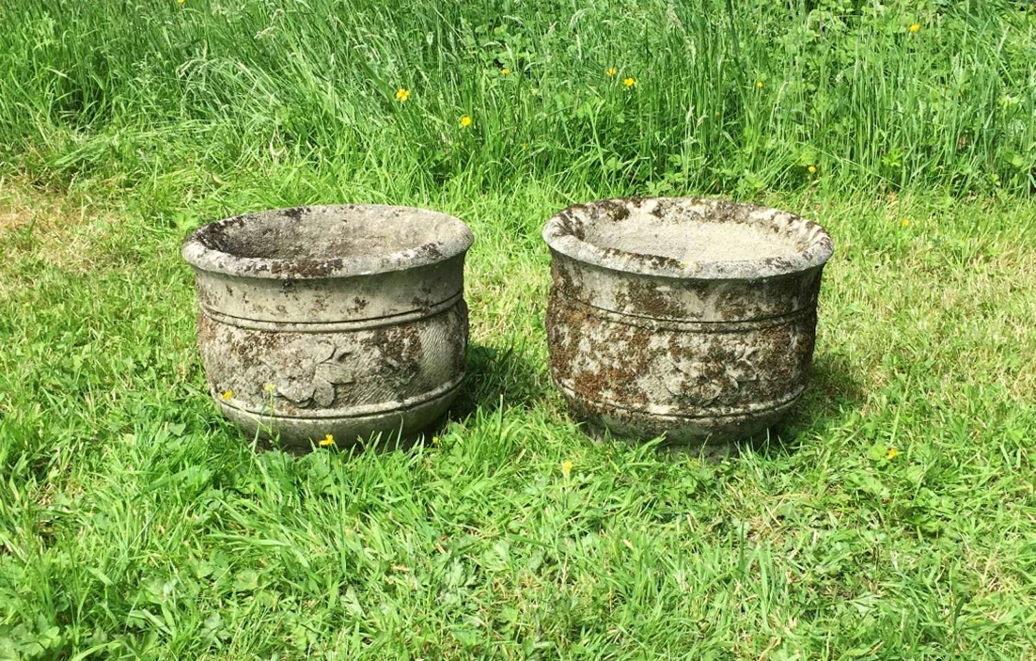 Pair of Mossy Planters