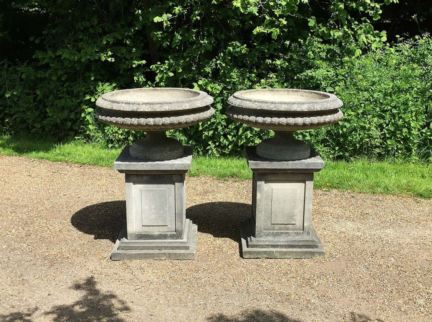 Pair of Shallow Urns with Pedestals