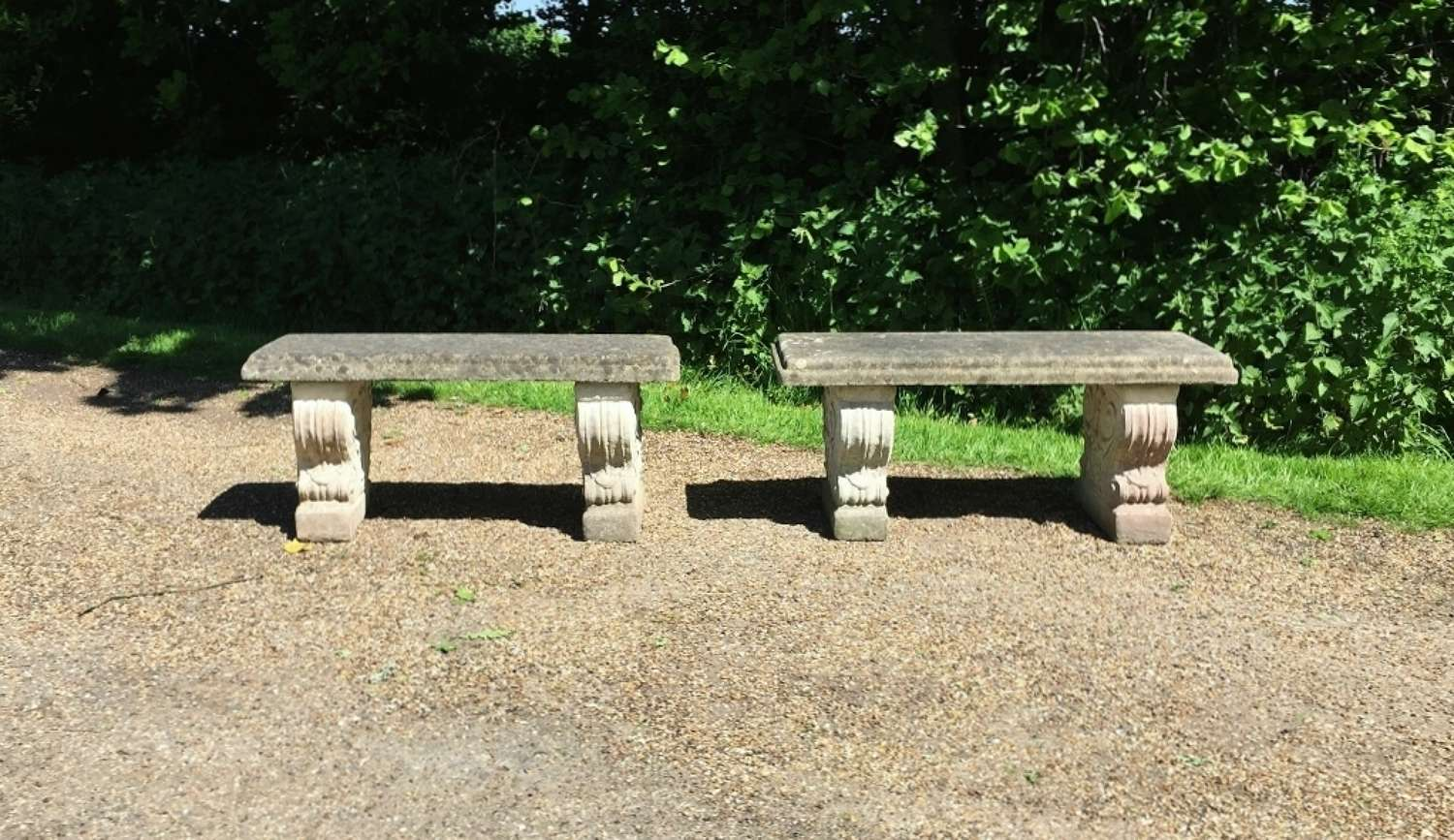 Pair of Vintage Stone Benches