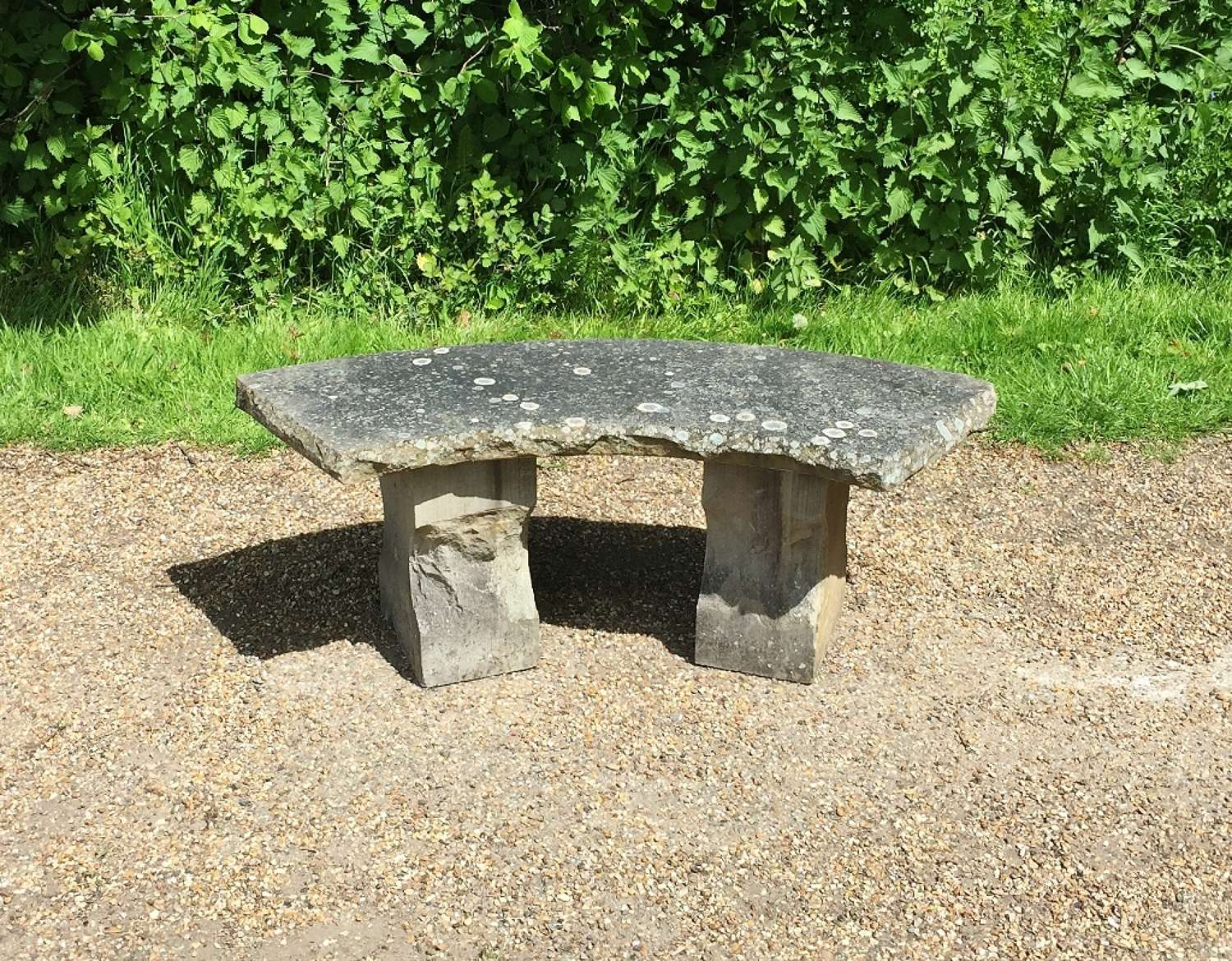 Small Carved Stone Bench
