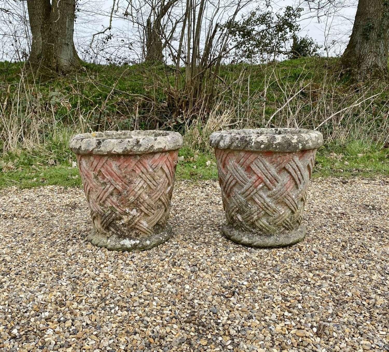 Pair of Basket Weave Planters